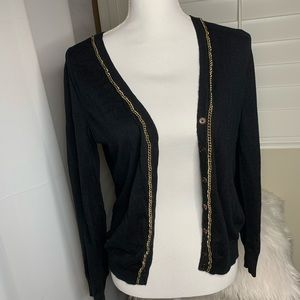 ✅Merona Cardigan with gold chain